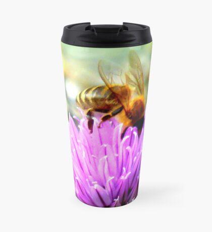 Bee on chive flower Travel Mug