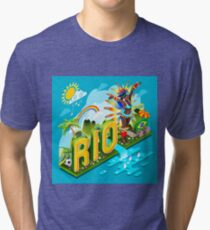 Brasil Rio Summer Infographic Isometric 3D Tri-blend T-Shirt