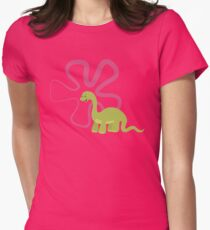 Dinamic Girls Collection - Green Dinosaur Girl with Flower Womens Fitted T-Shirt