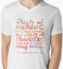 "VICIOUS QUOTE   ""HUMANS & MONSTERS"" Men's V-Neck T-Shirt"