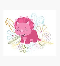 Dinamic Girls Collection - Pink Dinosaur Girl with Flowers Photographic Print