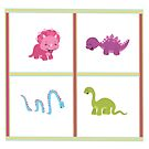 Dinamic Girls Collection - 4 Girl Dinosaurs Design by Amanda Voris