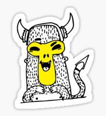 Urban monkey in viking helmet Sticker