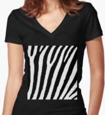 Zebra Stripes Skin Print Pattern Women's Fitted V-Neck T-Shirt