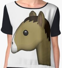 Horse Face Emoji Chiffon Top