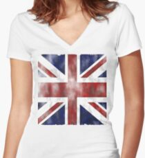 United Kingdom British flag Women's Fitted V-Neck T-Shirt