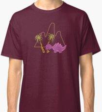 Dinamic Girls Collection - Purple Dinosaur Girl with Palm Trees Classic T-Shirt