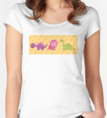 Dinamic Girls Collection - Girl Dinosaur Design Women's Fitted Scoop T-Shirt