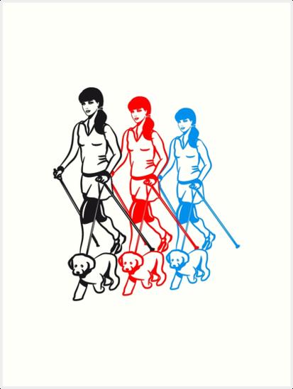 Nordic Walking Women Dog Art Prints By Motiv Lady