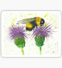 Bumble bee sitting a two thistles Sticker