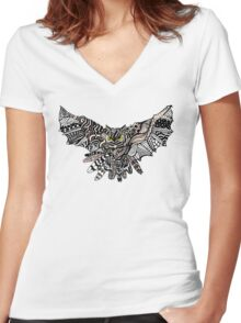 Night Owl in Color Women's Fitted V-Neck T-Shirt