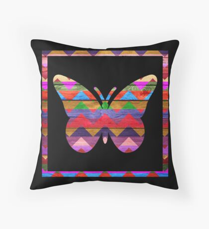 Chevron Pattern Butterfly on Wood Throw Pillow