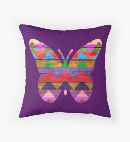 Chevron Pattern Butterfly on Wood #2 Throw Pillow
