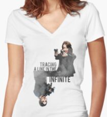 Tracing A Line In The Infinite (Person of Interest) Women's Fitted V-Neck T-Shirt