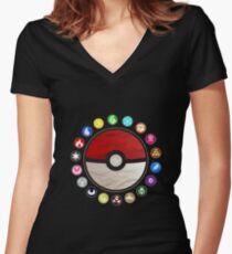 Pokemon - Pokeball Women's Fitted V-Neck T-Shirt