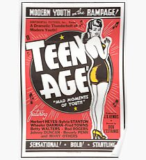 Teenage Mad Moments of Youth Retro Movie Poster