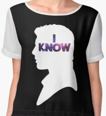Star Wars Han 'I Know' White Silhouette Couple Tee  Women's Chiffon Top