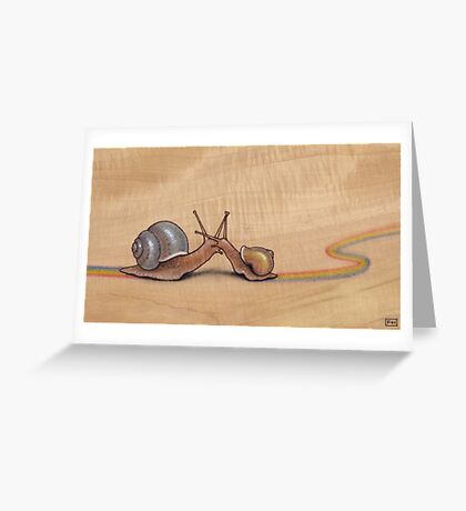 Snail Kiss (blue/yellow) Greeting Card