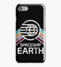Vintage Spaceship Earth with Distressed Logo in Retro Style iPhone Case/Skin