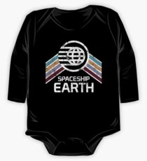 Vintage Spaceship Earth with Distressed Logo in Retro Style One Piece - Long Sleeve