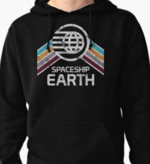 Vintage Spaceship Earth with Distressed Logo in Retro Style Pullover Hoodie