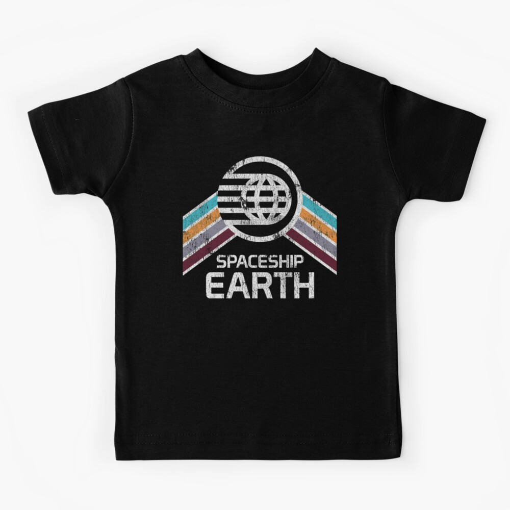 Vintage Spaceship Earth with Distressed Logo in Retro Style Kids T-Shirt