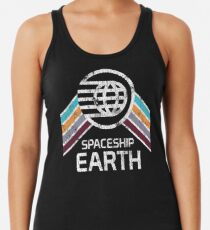 Vintage Spaceship Earth with Distressed Logo in Retro Style Women's Tank Top