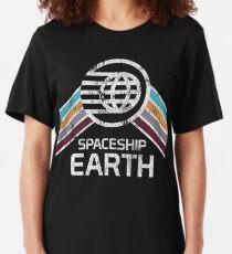 Camiseta ajustada Vintage Spaceship Earth con el logotipo angustiado en estilo Retro