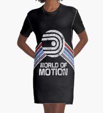 World of Motion Logo im Vintage Distressed Stil T-Shirt Kleid