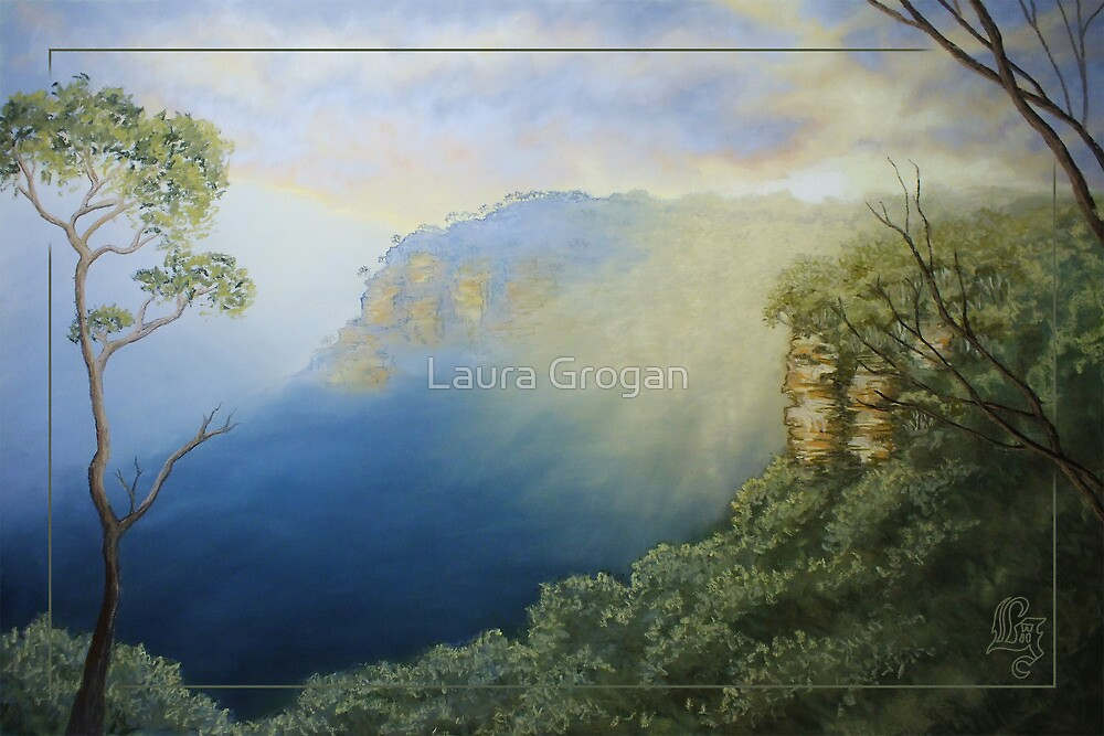 Sunset - Looking west from Echo Point, Blue Mountains, NSW Australia by Laura Grogan