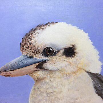 Kookaburra mugshot - Laughing kookaburra (Dacelo novaeguineae) by LauraGrogan