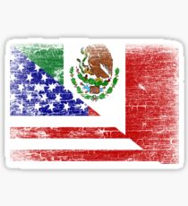 Vintage Mexican American Flag Cool T-Shirt Sticker