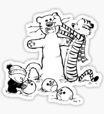 calvin and hobbes b N w Sticker