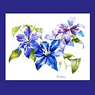 Brilliant Blue and Lavender Clematis Throw Pillow by Pat Yager