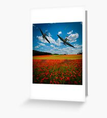 Spitfires Tribute Poppy Flypast  Oil Painting Greeting Card