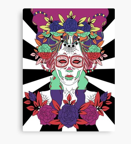 Colorful Day of the Dead Women Canvas Print
