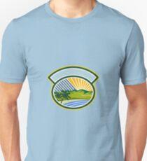 Tropical Trees Mountains Sea Coast Oval Retro Unisex T-Shirt
