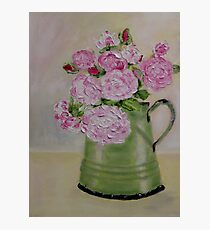 Pink roses in enamel jug Photographic Print