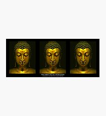 Buddhistic  triptych - The three faces of Buddha on black Photographic Print
