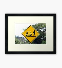 Cars and Cyclists Share the Road Sign Framed Print