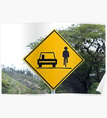Cars and Cyclists Share the Road Sign Poster