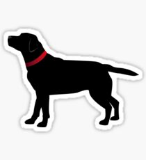 Black Labrador with Red Collar Sticker
