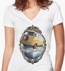 T1 Bus - Cross the World Women's Fitted V-Neck T-Shirt