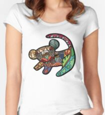 Lion Pattern Women's Fitted Scoop T-Shirt