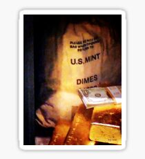 Dimes Dollars and Gold Sticker
