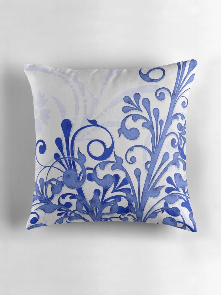 Royal Blue And White Throw Pillows :