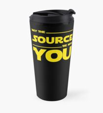 May The Source Be With You - Yellow/Dark Parody Design for Programmers Travel Mug