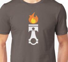 Flaming Piston (fire wht) Unisex T-Shirt