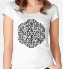 Modern Maze - brain game | Laberinto moderno - juego mental Women's Fitted Scoop T-Shirt