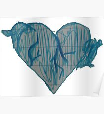 Blue Ink Heart Poster